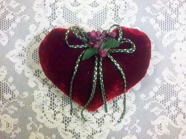 Burgundy silk velvet heart lavender sachet