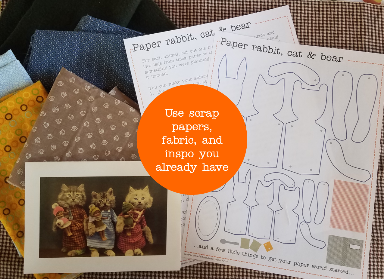Free pattern for paper animal characters--rabbit, cat, or bear. A scrapbasket toy from craftdesignworks